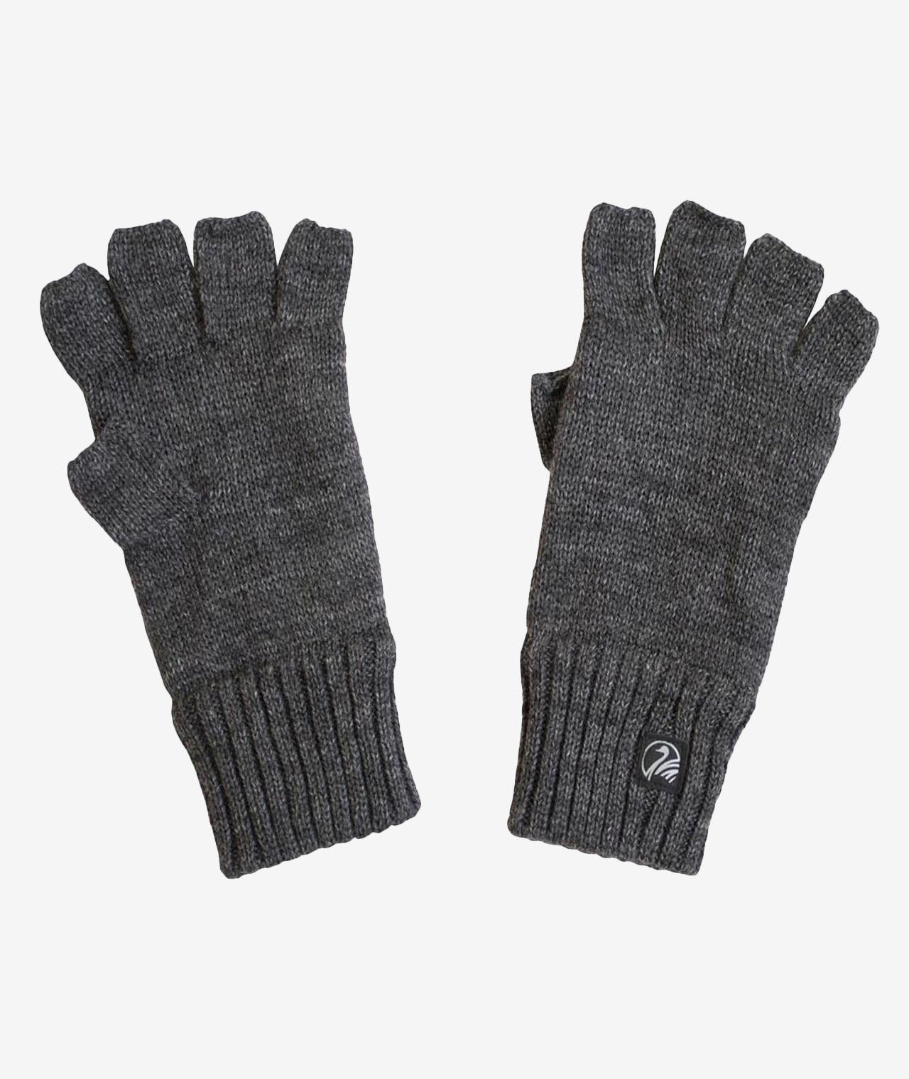 Swanndri Fingerless Wool Glove with Fleece Lining in Charcoal Marle