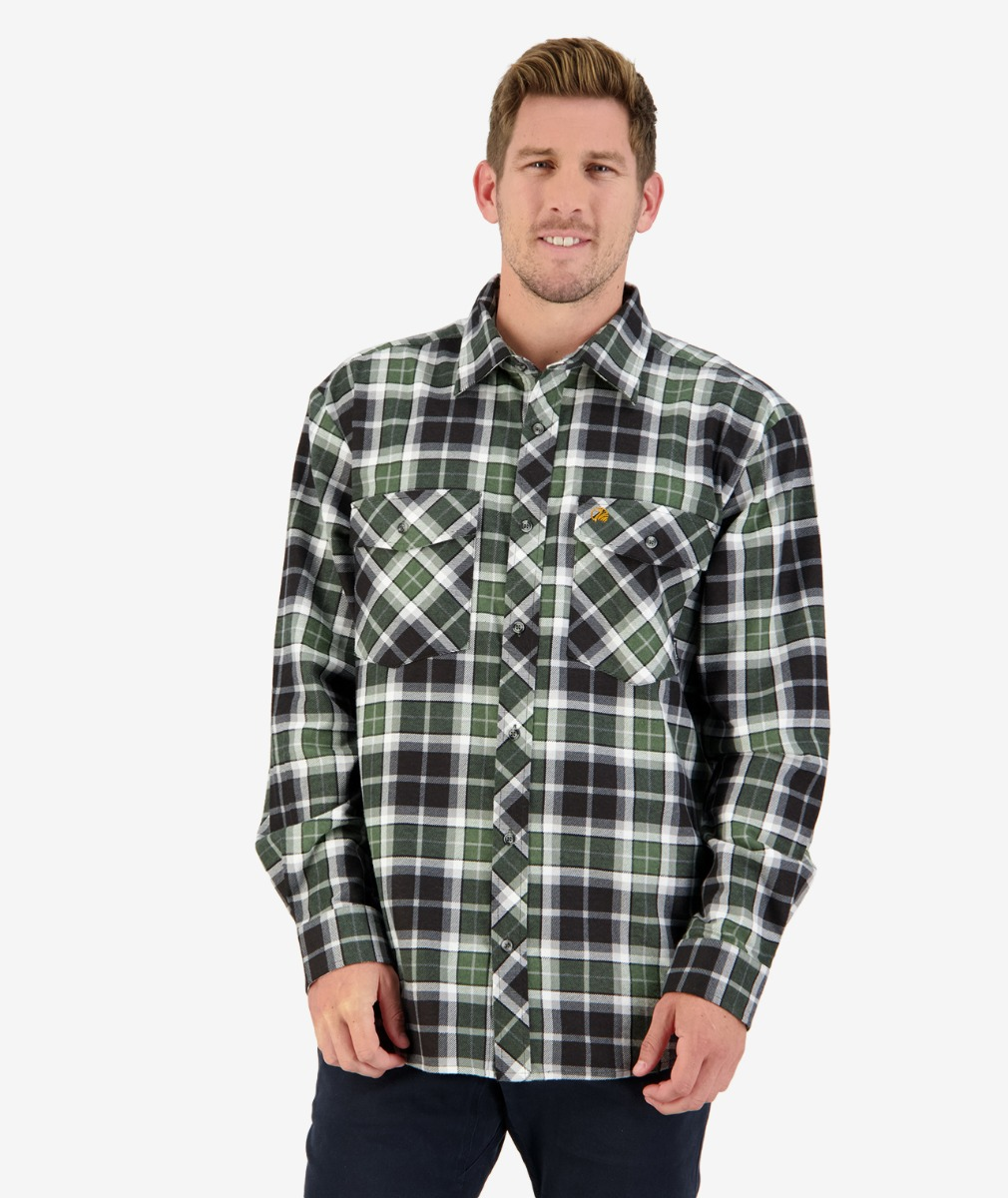 Swanndri Men Egmont Full Placket Shirt in Black/Green