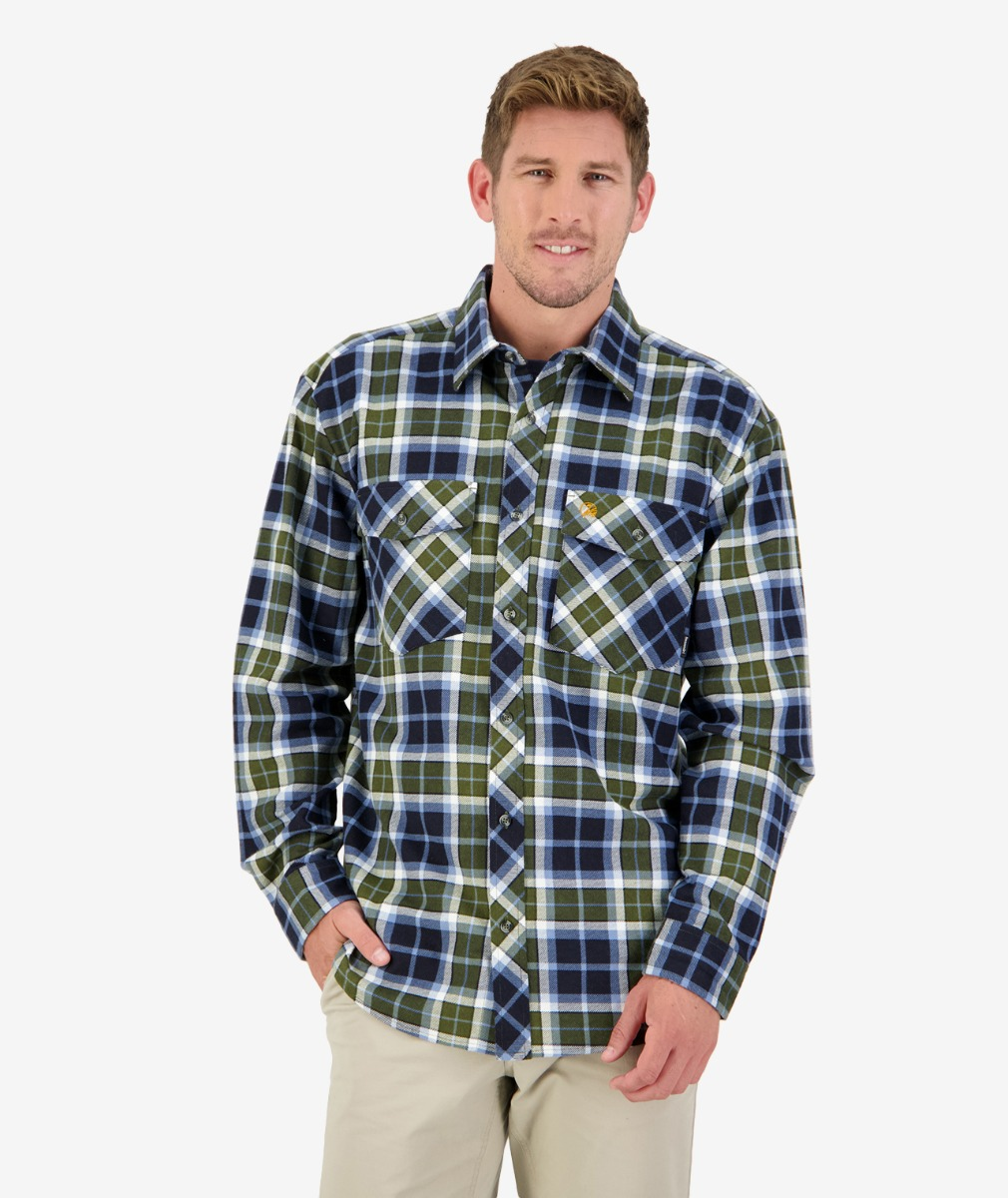 Swanndri Men Egmont Full Placket Shirt in Khaki/Crimson