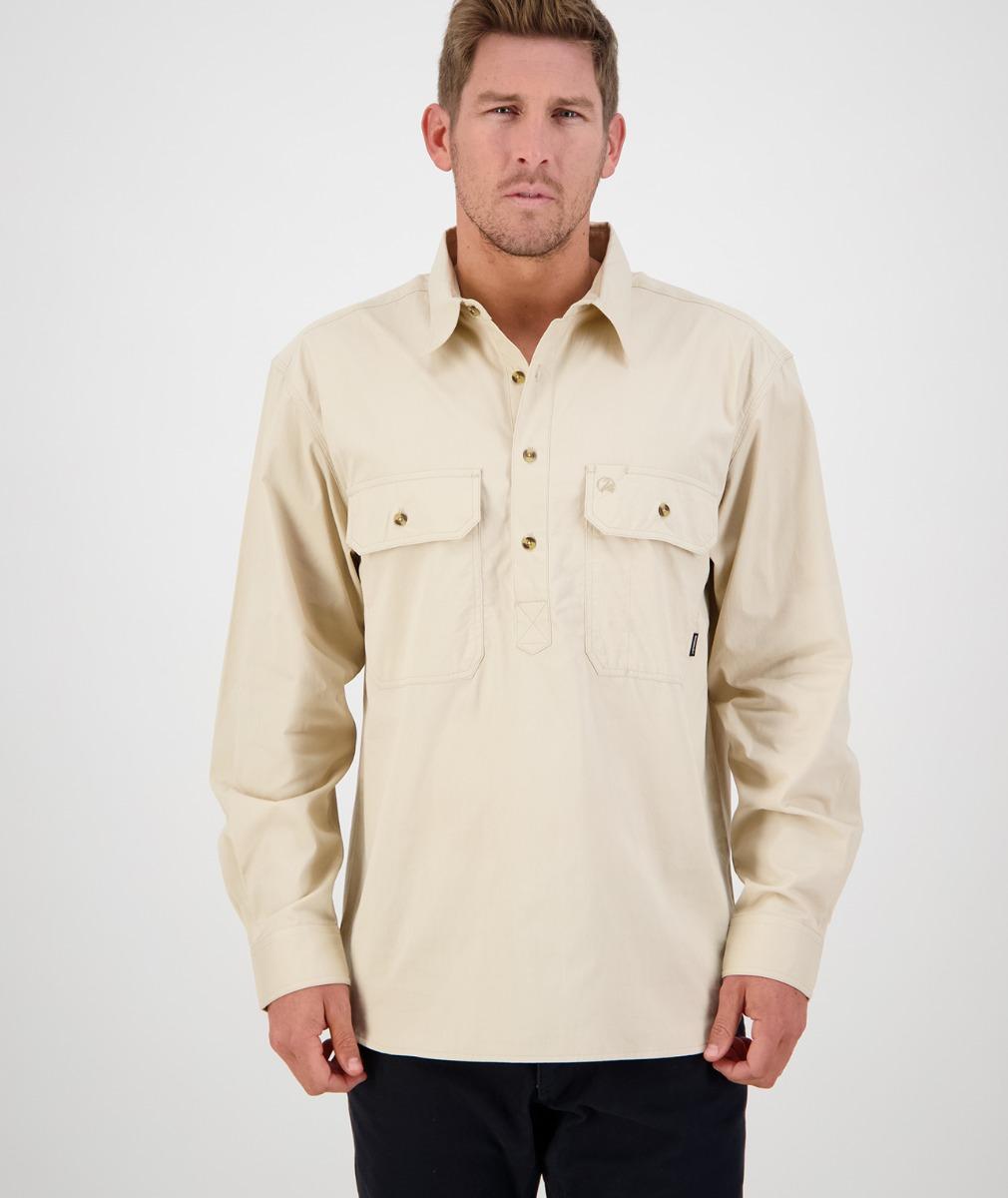 Swanndri Men's Bendigo Long Sleeve Work Shirt in Bone