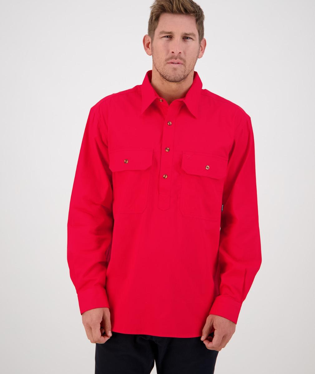 Swanndri Men's Bendigo Long Sleeve Work Shirt in Bright Red