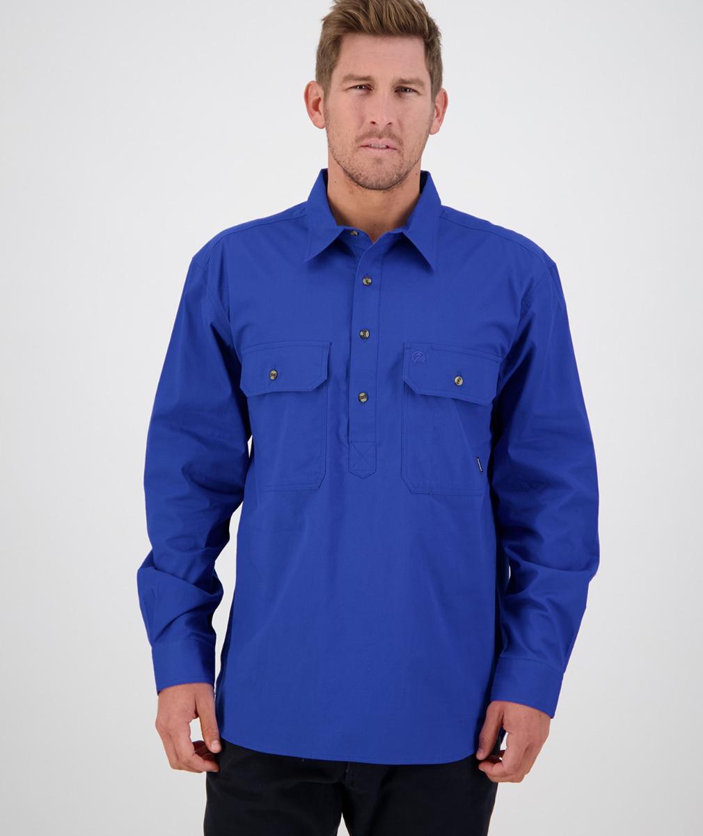 Swanndri Men's Bendigo Long Sleeve Work Shirt in Electric Blue