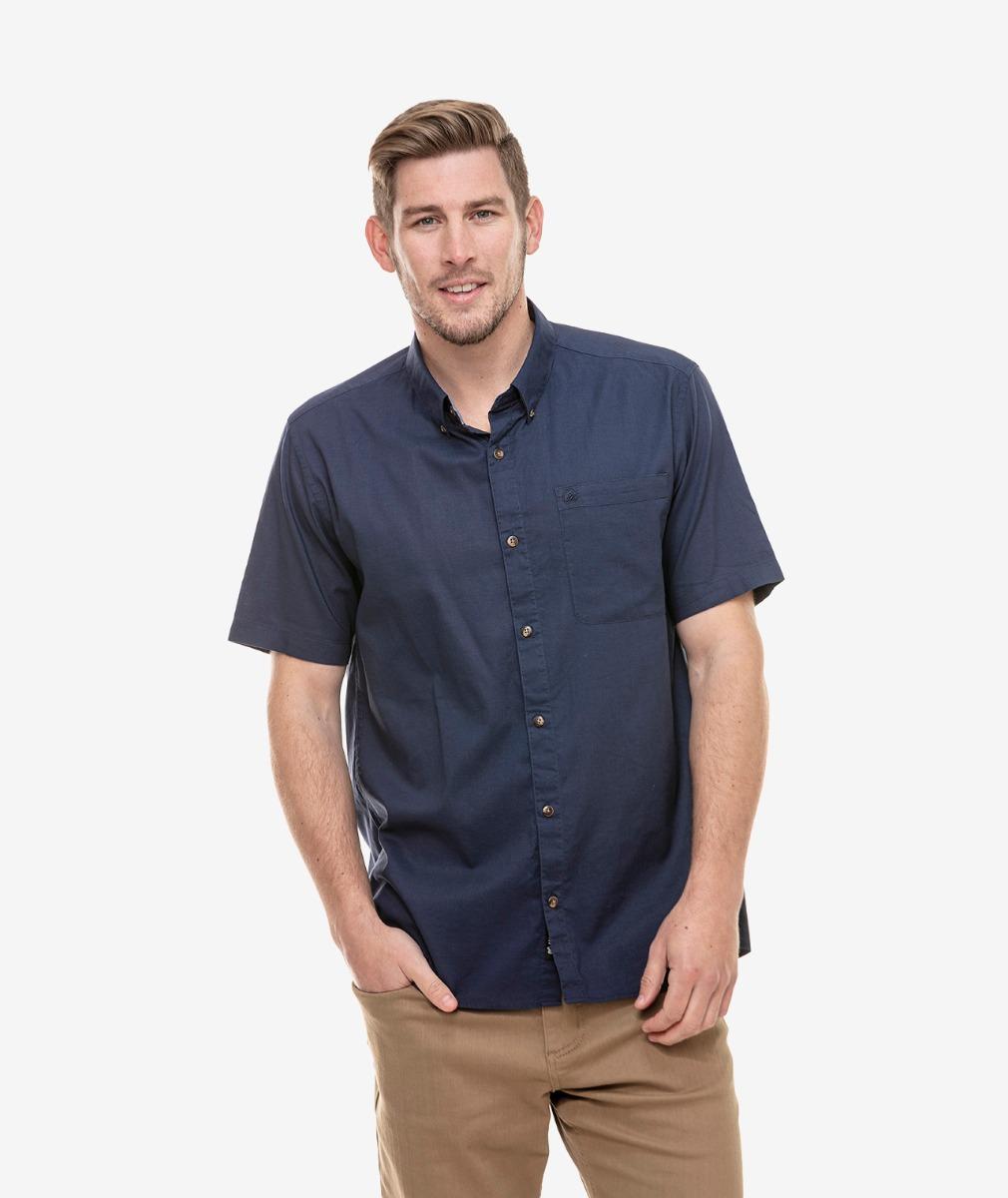 Swanndri Men's Arlington Cotton Linen Blend Short Sleeve Shirt