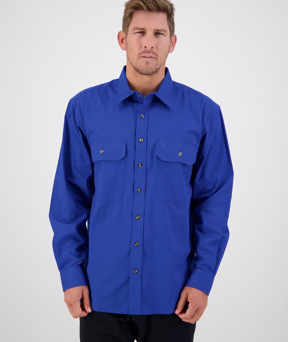 Swanndri Men's Byron Cotton Long Sleeve Shirt in Electric Blue