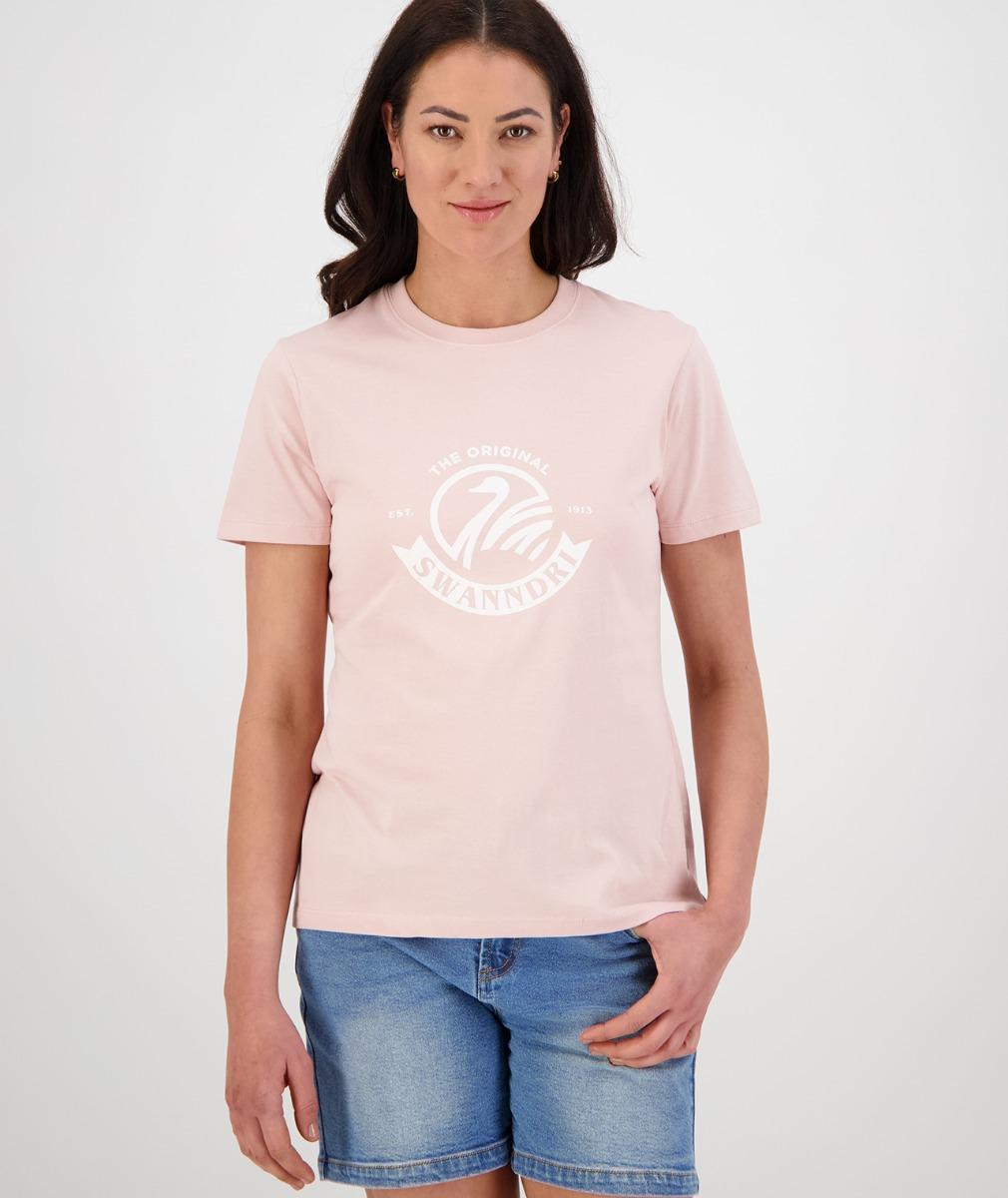 Swanndri Women's Heritage Logo Tee in Pink/White