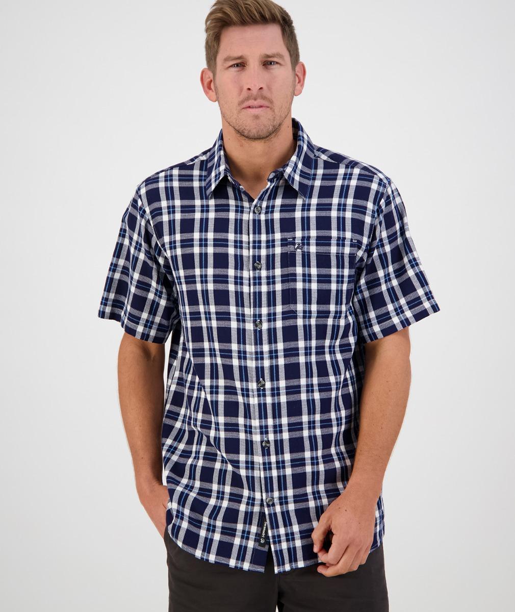 Swanndri Men's Russell Shirt in Dark Navy Grid Check