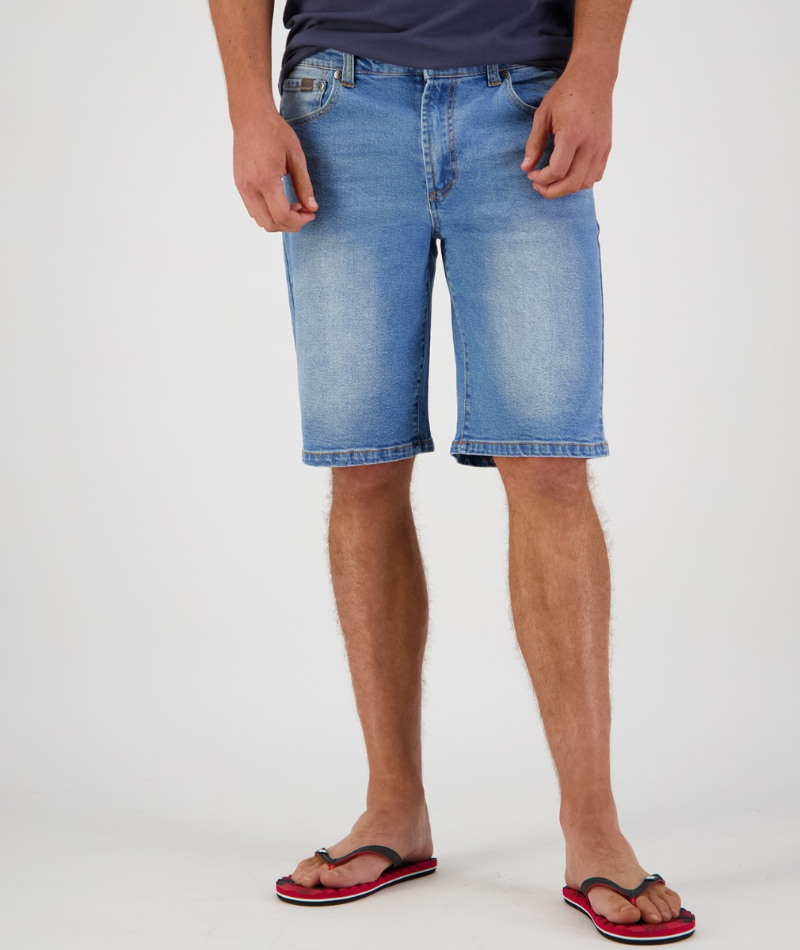 Swanndri Men's Bombay Stretch Denim Shorts in Light Blue