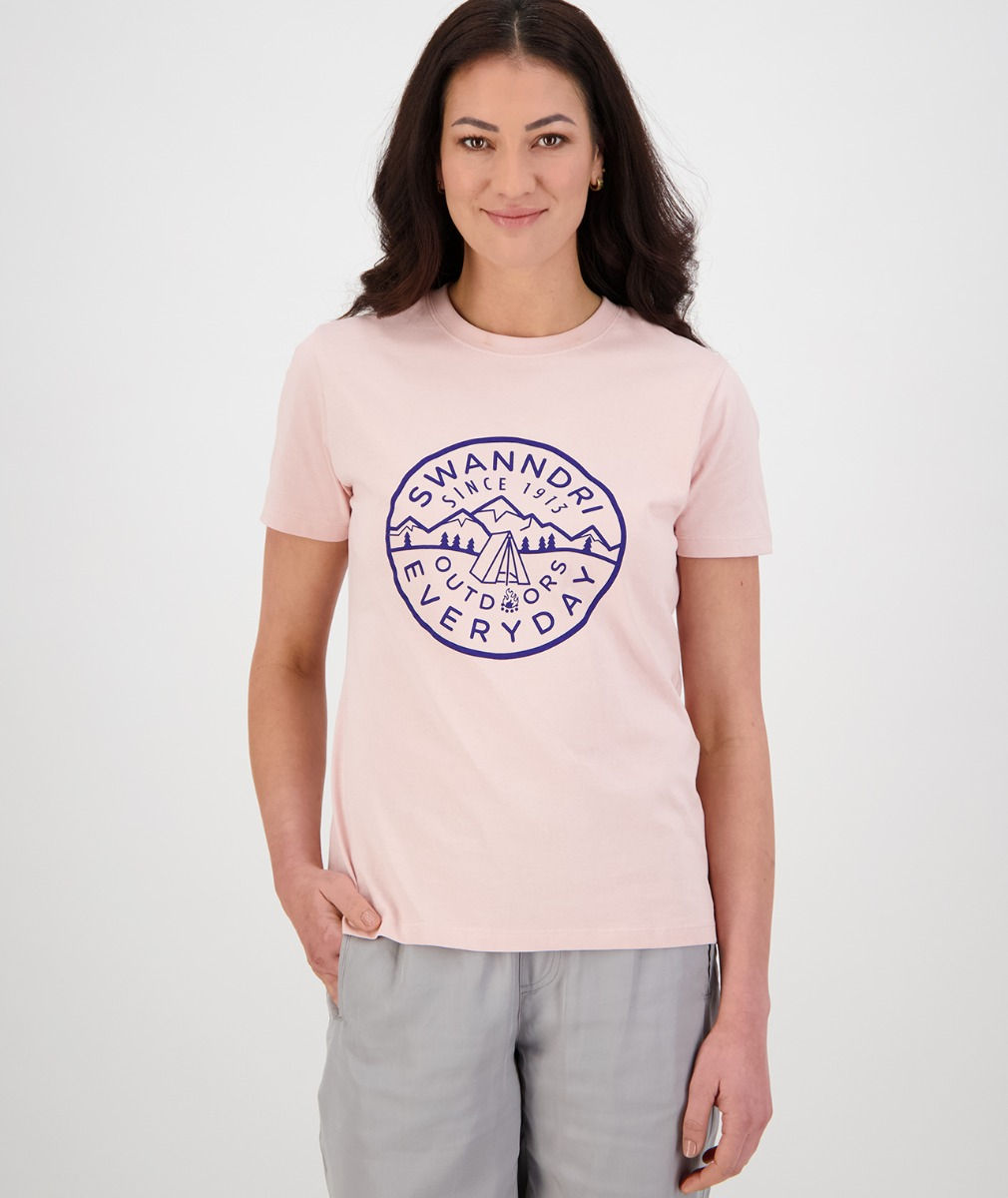 Swanndri Women's Wallace Print Tee in Pink/Navy