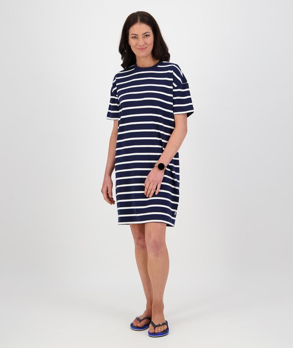 Swanndri Women's Acacia Stripe Dress in Navy/White