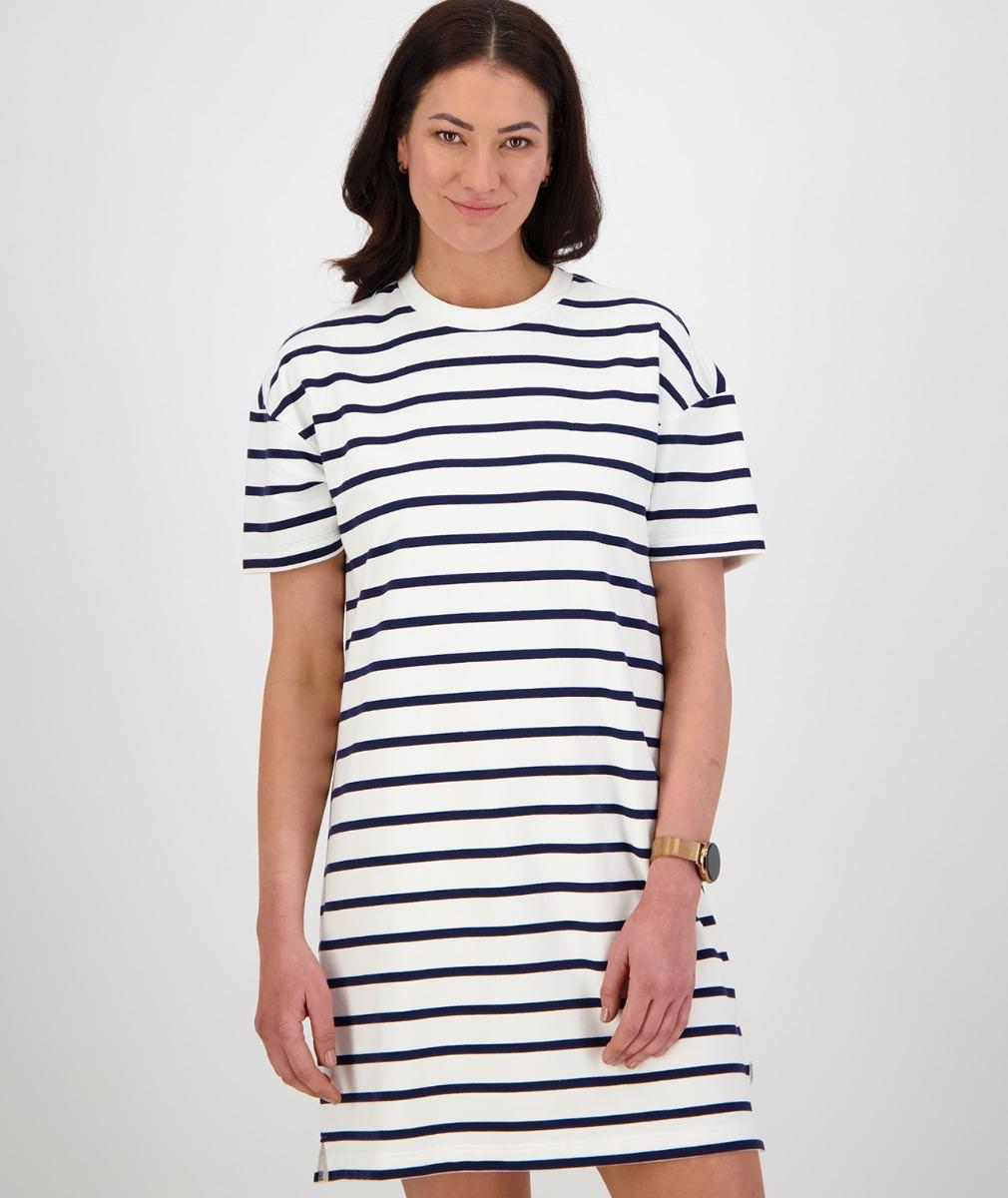 Swanndri Women's Acacia Stripe Dress in White/Navy