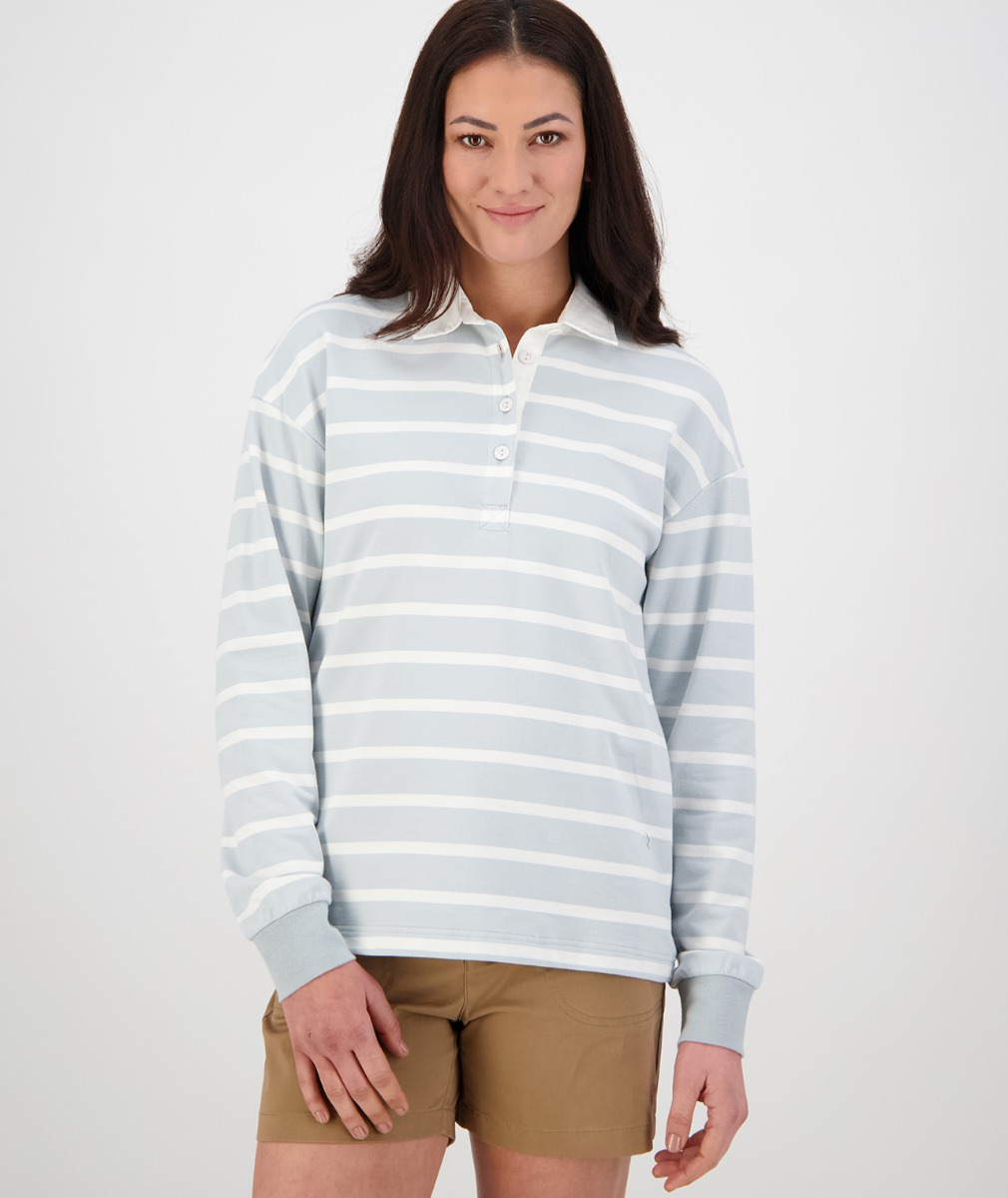 Swanndri Women's Tribeca Long Sleeve Rugby Shirt in Grey/White