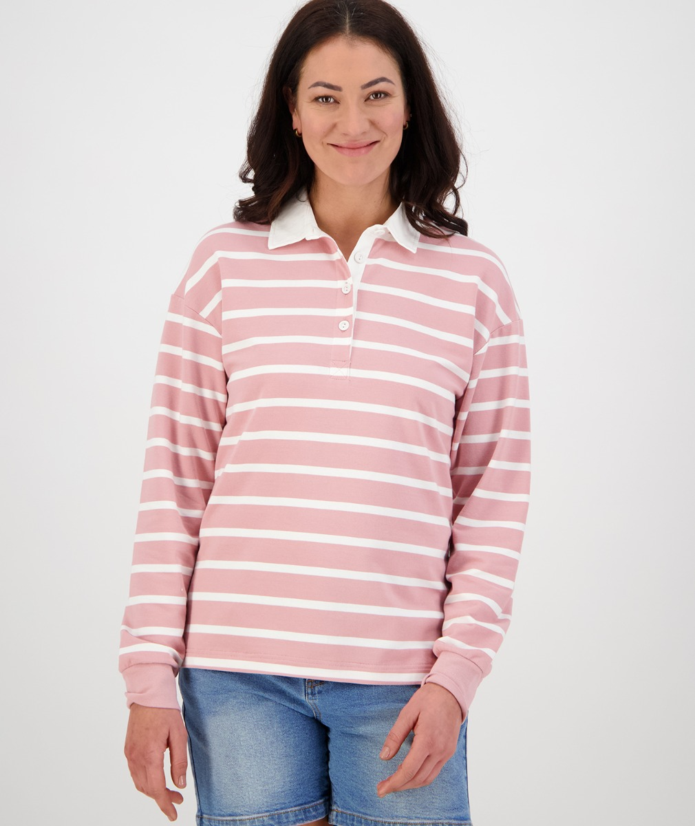 Swanndri Women's Tribeca Long Sleeve Rugby Shirt in Pink/White