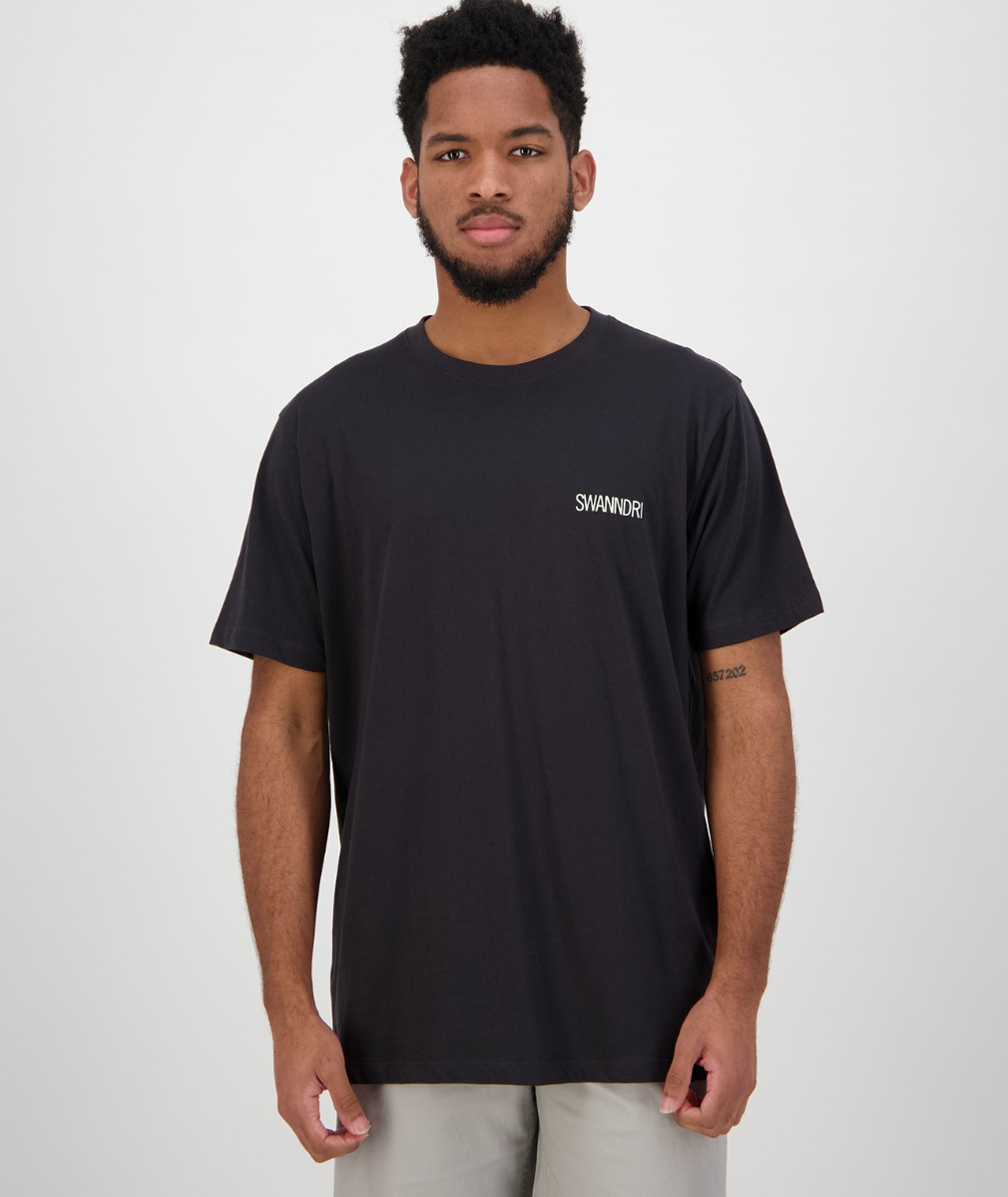 Swanndri Men's The Alps Print Tee in Washed Black/White