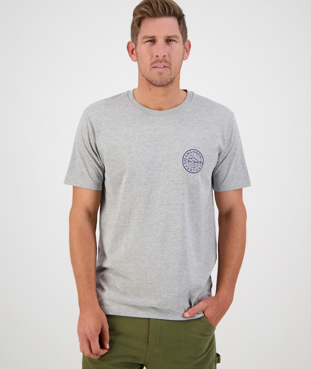 Swanndri Men's Fireside Print Tee in Grey Marle/Navy
