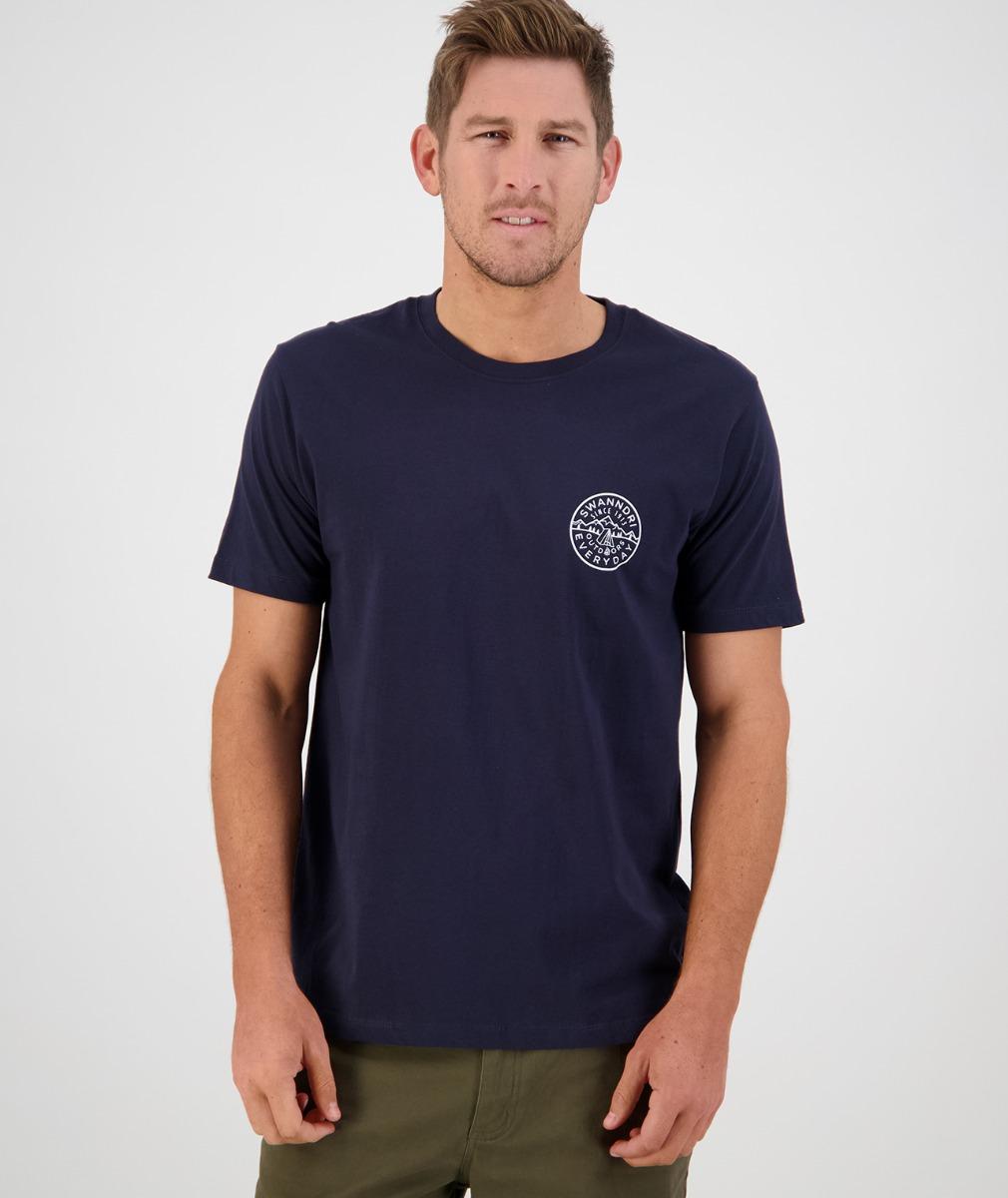 Swanndri Men's Fireside Print Tee in Navy/White