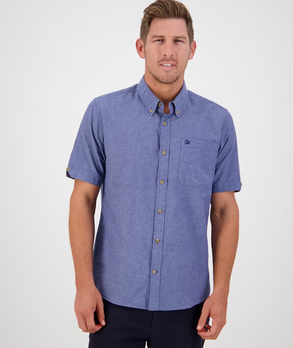Swanndri Men's Lowell Short Sleeve Shirt in Blue