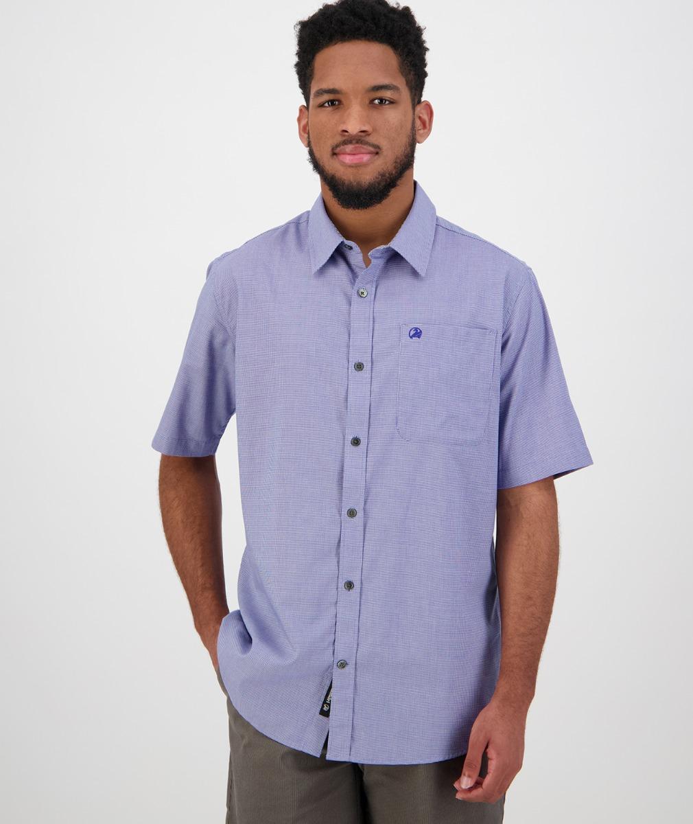 Swanndri Men's Claremont Short Sleeve Shirt in Blue