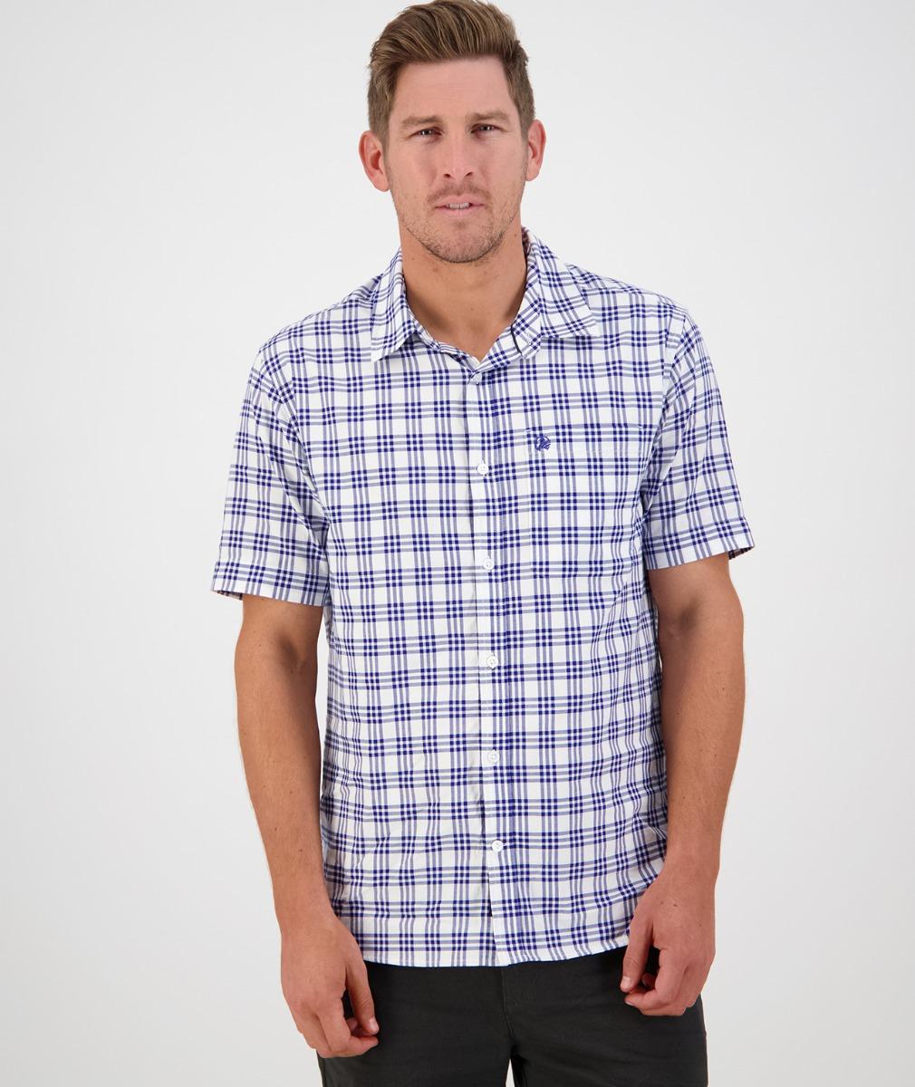 Swanndri Men's Ludlow Short Sleeve Shirt in White/Blue