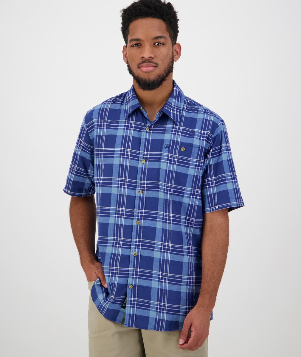 Swanndri Men's Oak Bluffs Short Sleeve Shirt in Blue/Aqua