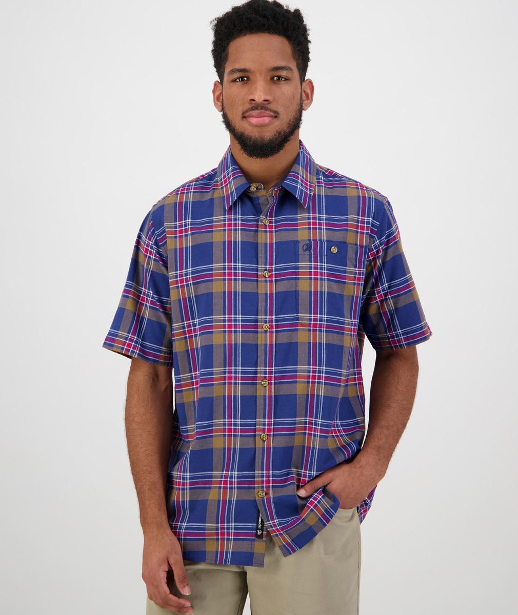 Swanndri Men's Oak Bluffs Short Sleeve Shirt in Blue/Red