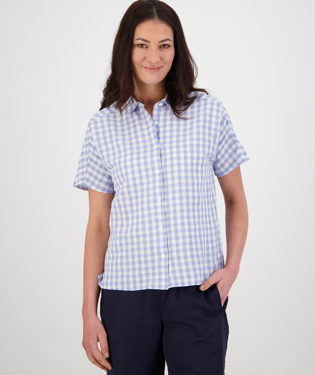 Swanndri Women's Thalia Short Sleeve Shirt in Blue