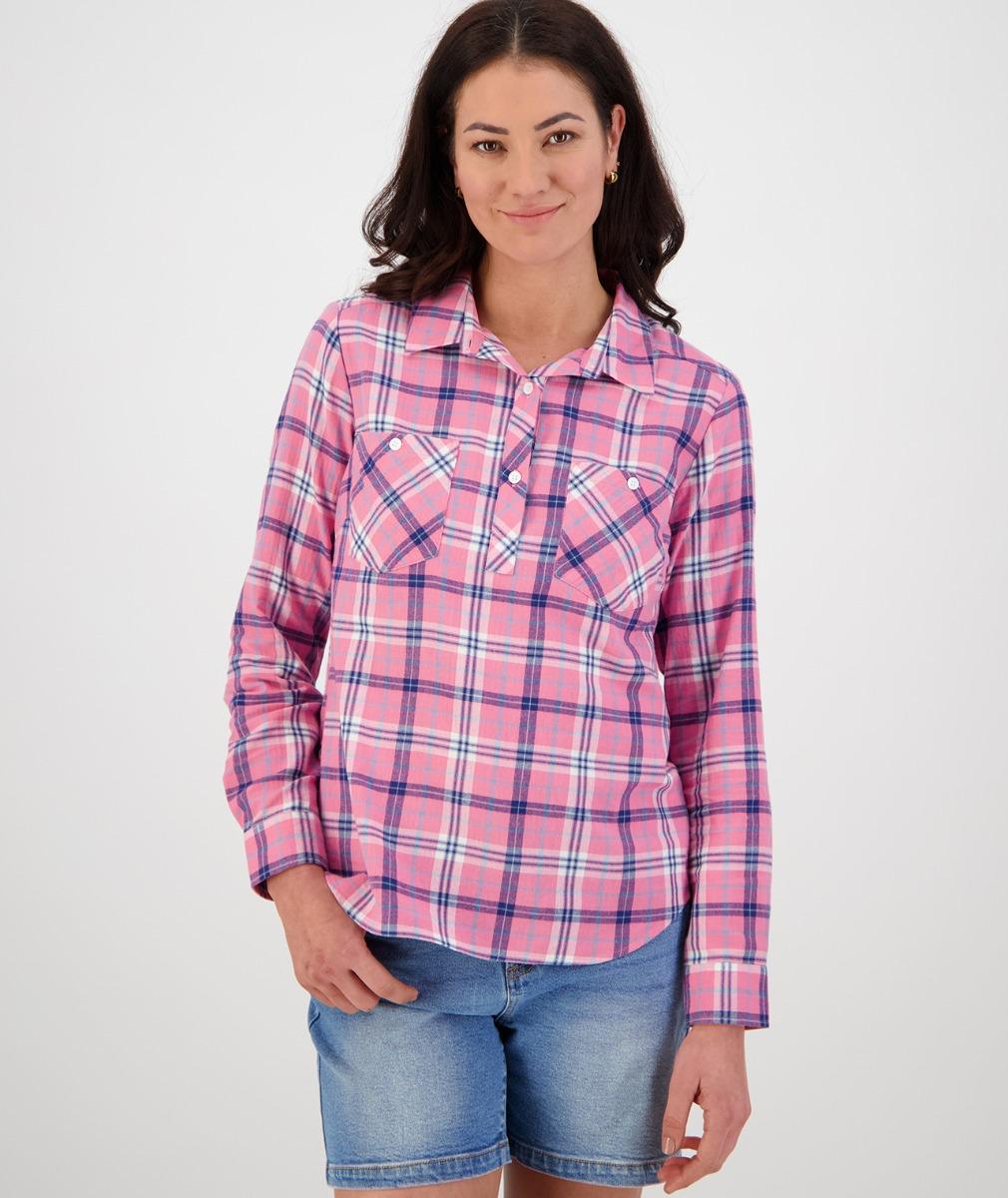 Swanndri Women's Flora Long Sleeve Shirt in Pink/Navy