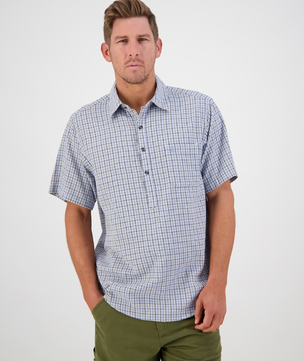 Swanndri Men's Paihia Short Sleeve Shirt in Light Blue/Sage/Navy