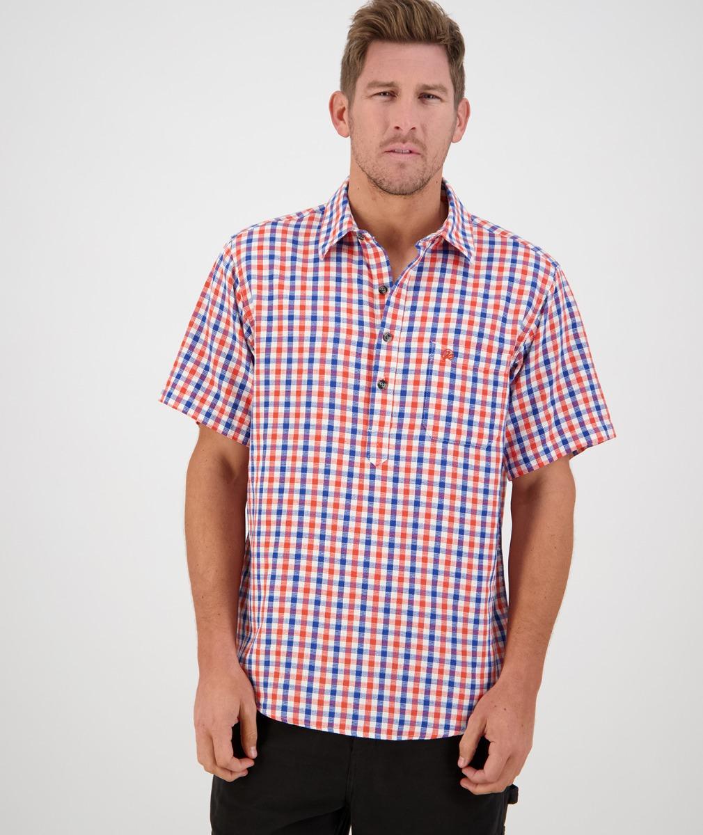 Swanndri Men's Paihia Short Sleeve Shirt in Orange/Blue