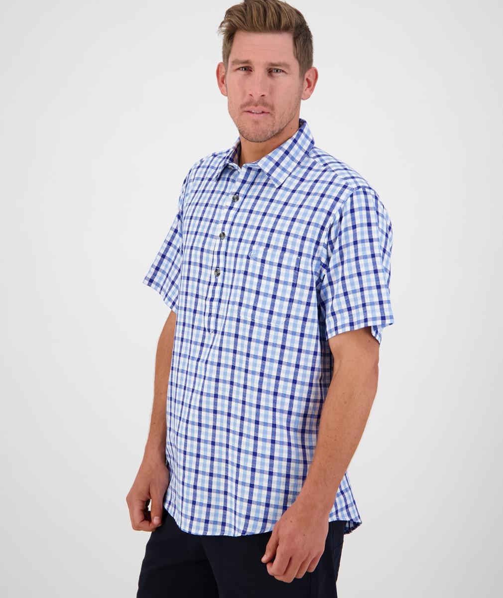 Swanndri Men's Paihia Short Sleeve Shirt in Sky/Navy Check
