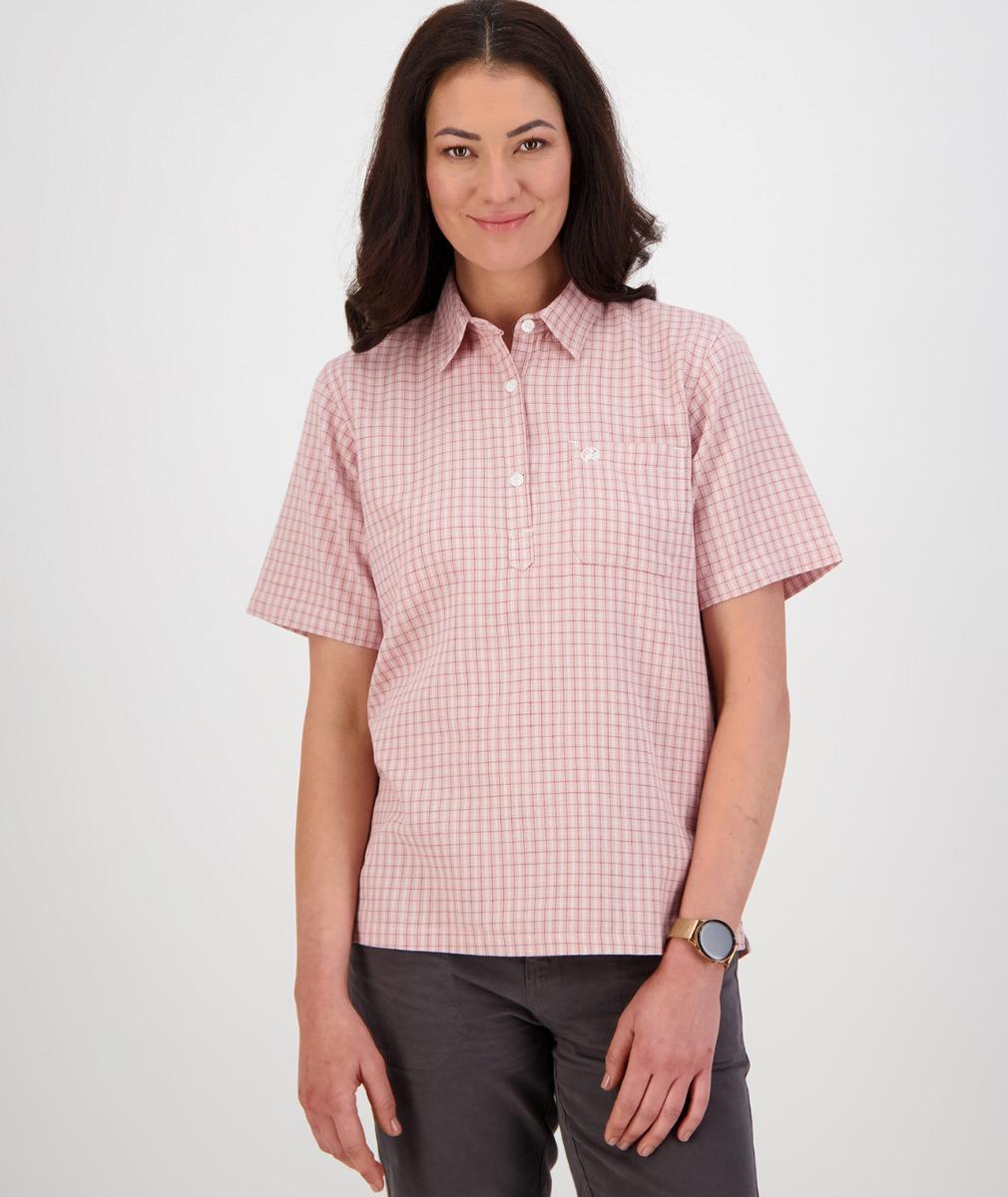 Swanndri Women's Tasman 100% Cotton Short Sleeve Shirt in Pink/Plum