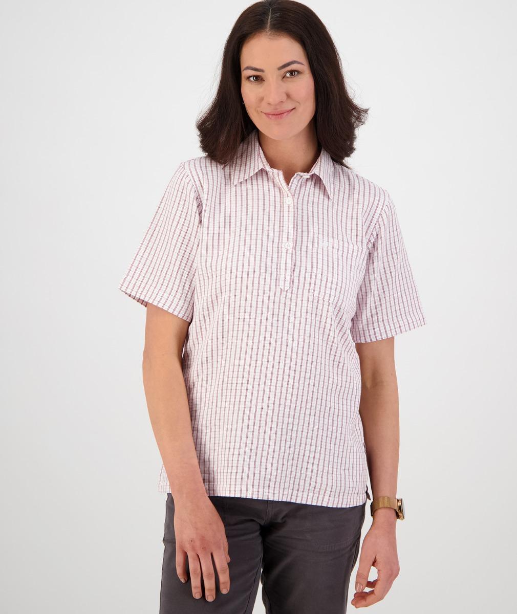 Swanndri Women's Tasman 100% Cotton Short Sleeve Shirt in Plum/Pink
