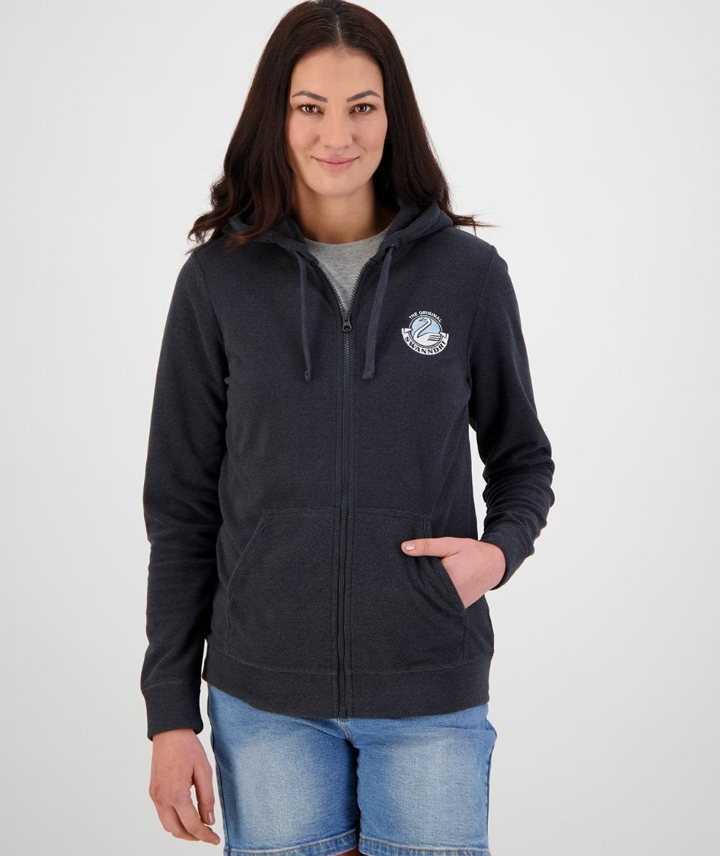 Swanndri Women's Anaheim Fleece Hoody in Dark Grey