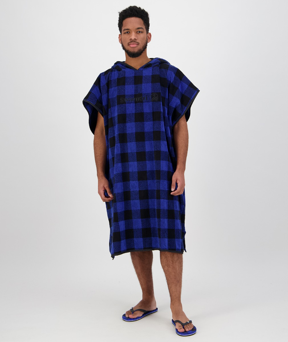 Swanndri Hooded Towel for Adults in Blue/Black