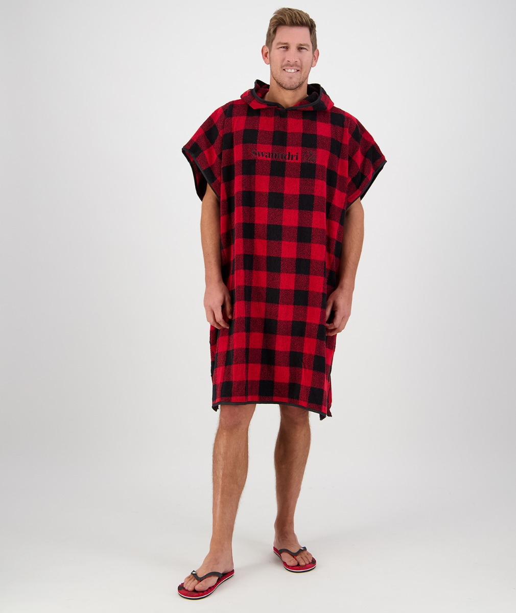 Swanndri Hooded Towel for Adults in Red/Black
