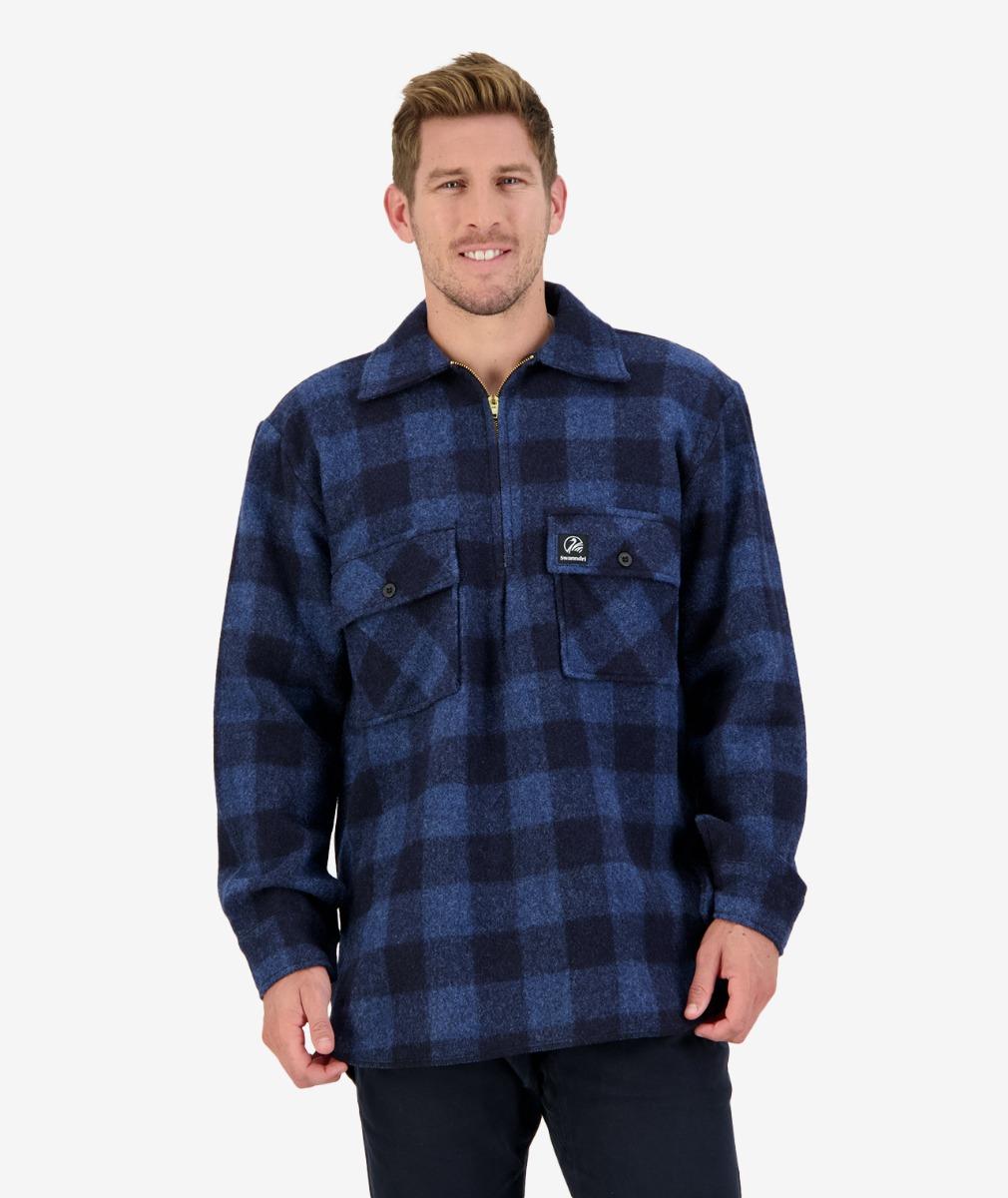 Swanndri Men's Ranger Wool Zip Front Bush Shirt in Ink Check