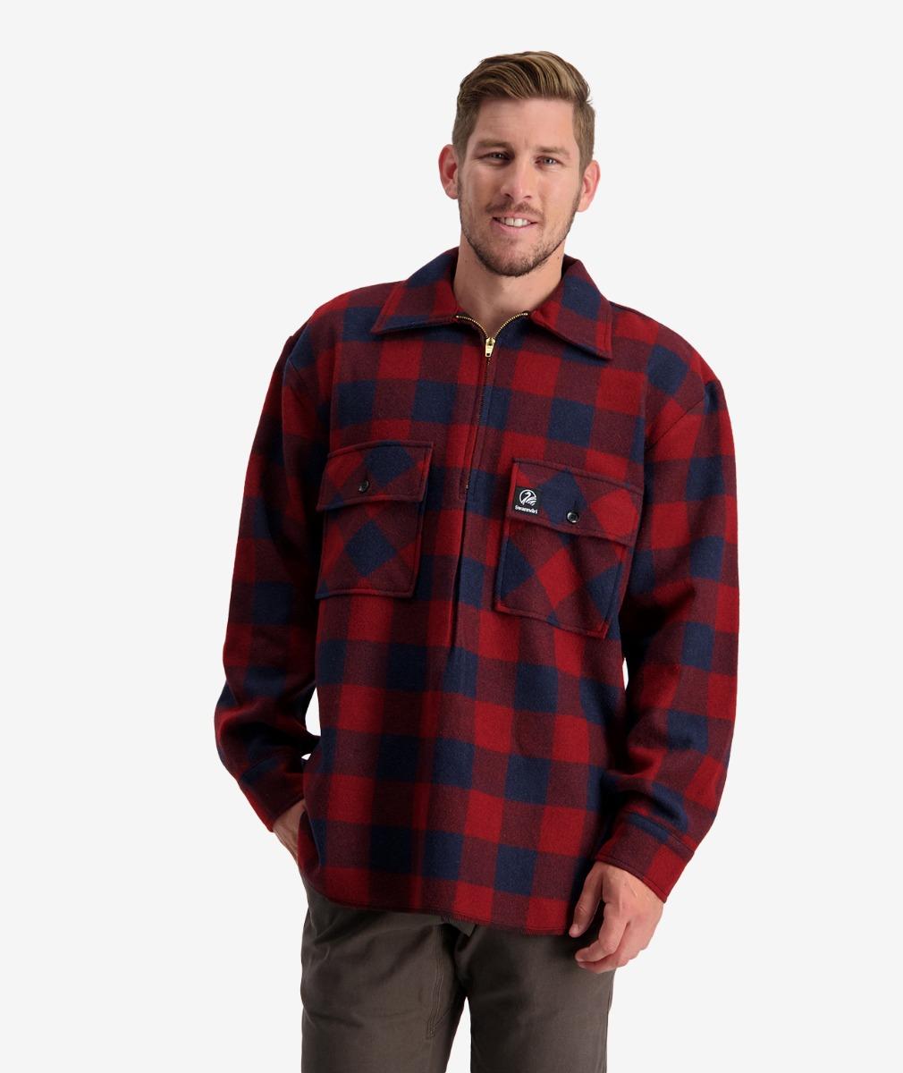 Men's Ranger Wool Zip Front Bush Shirt in Sunrise Check