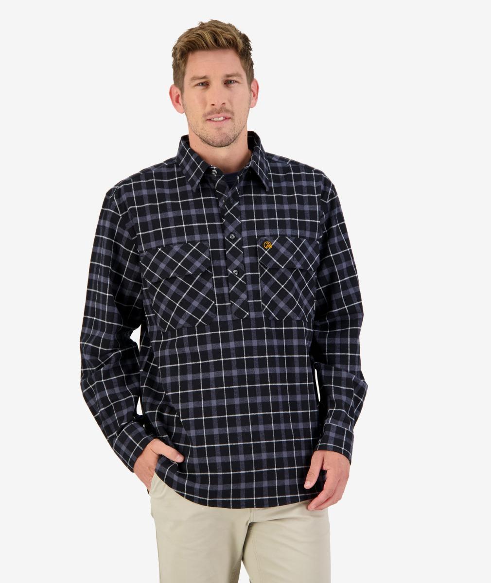 Swanndri Barn Yarn Dye Shirt in Black