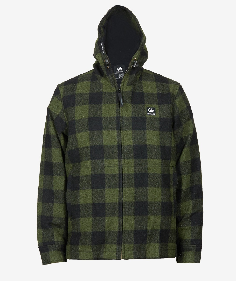 Swanndri Men's Boston Hoody in Olive/Black Check