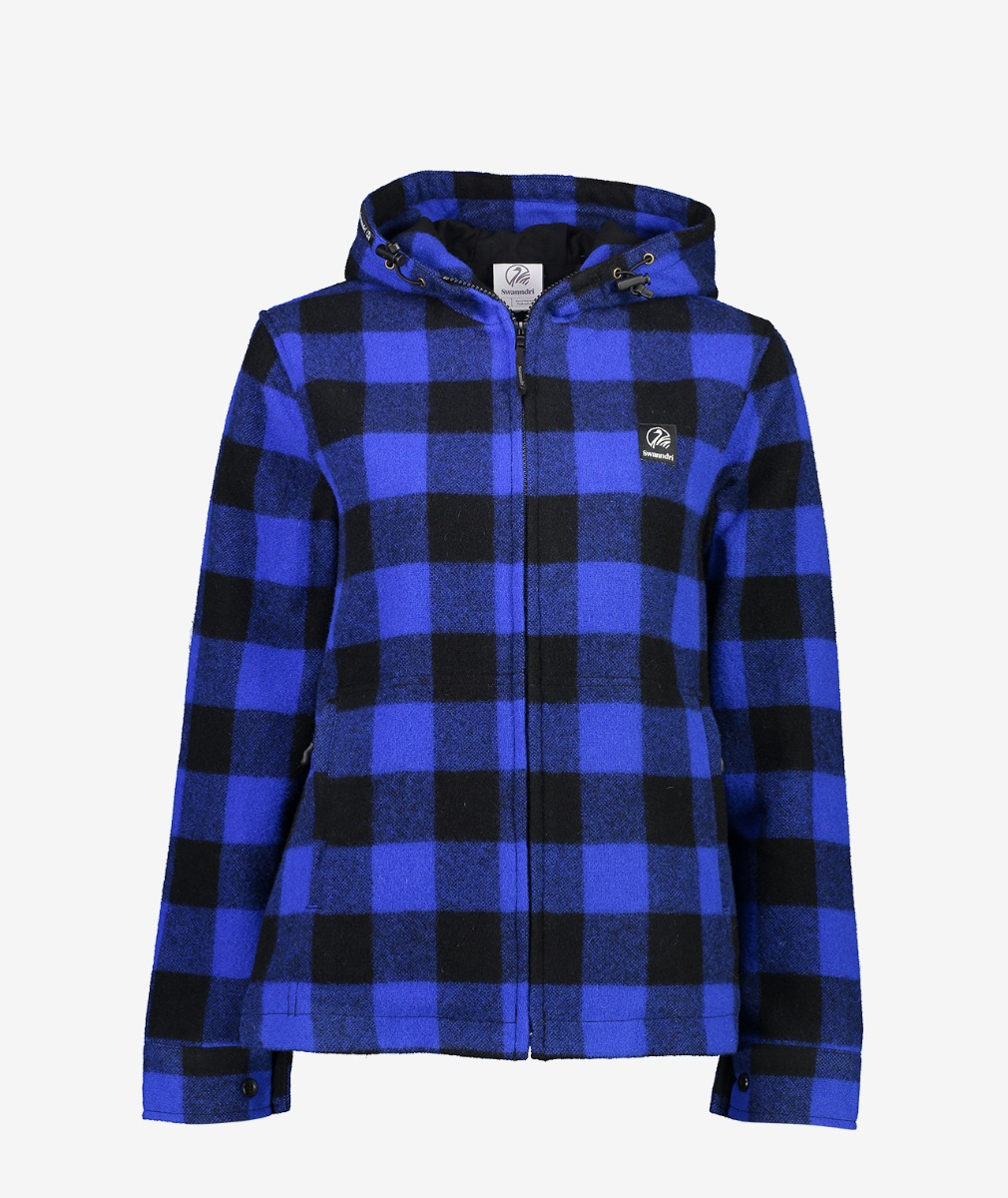 Swanndri Women's Portland Hoody in Blue/Black Check