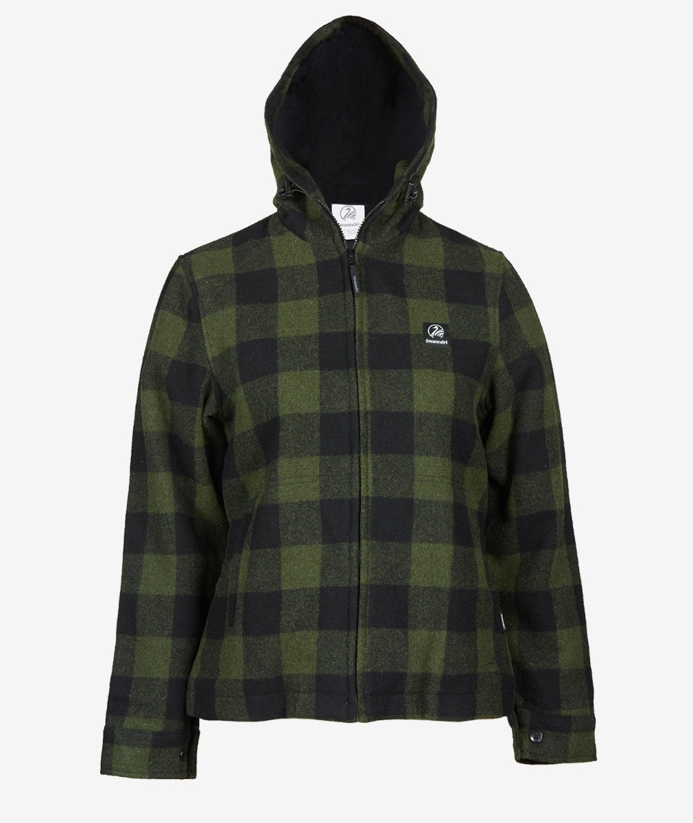 Swanndri Women's Portland Hoody in Olive/Black Check