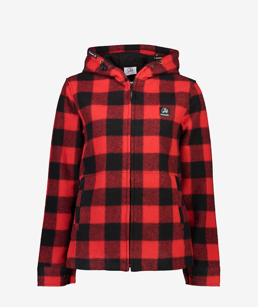 Swanndri Women's Portland Hoody in Red/Black Check