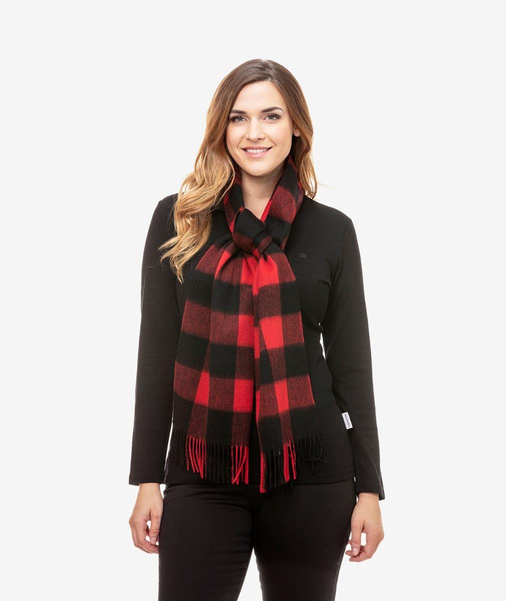 Swanndri Unisex 100% Wool Scarfie in Red/Black Check