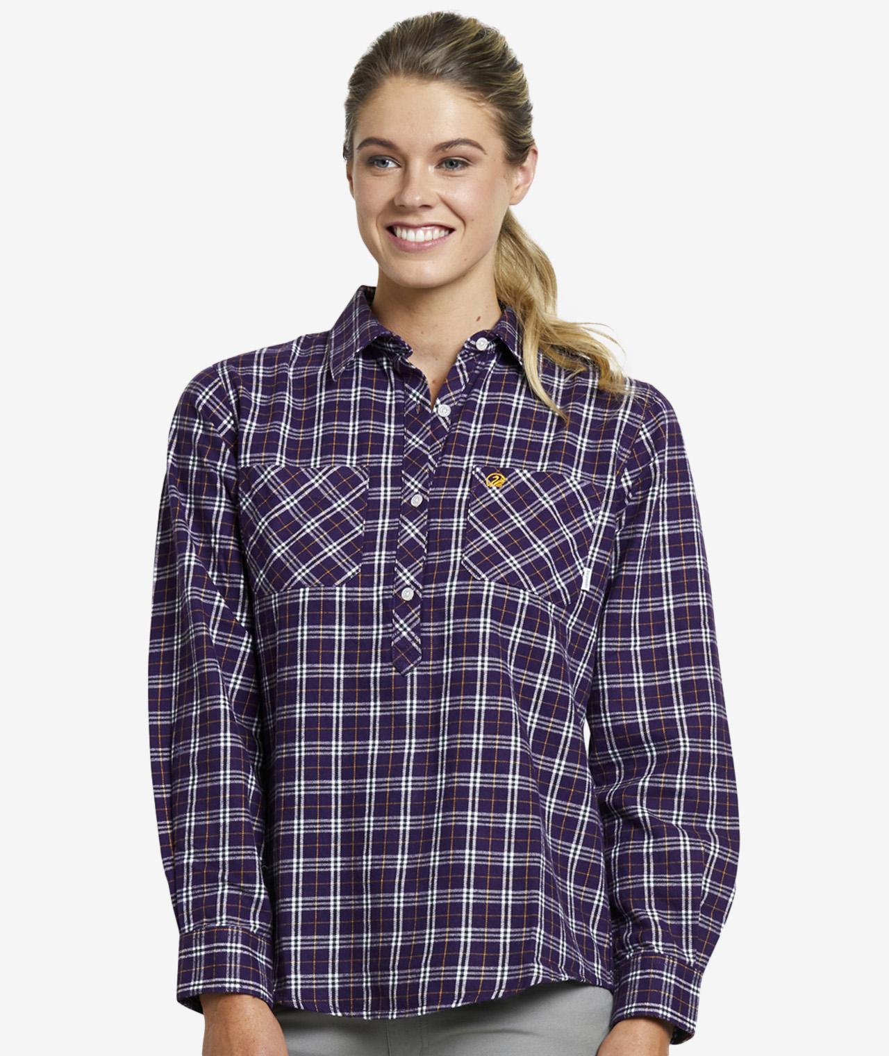Swanndri Women's Barn Cotton Check Work Shirt in Plum/Ginger Check