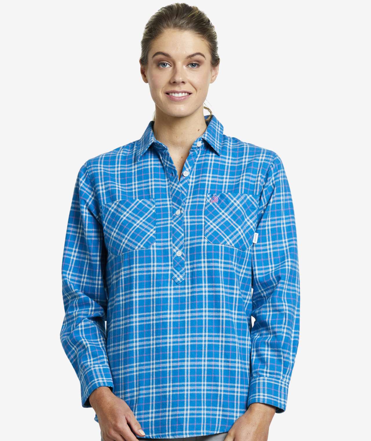 Swanndri Women's Barn Cotton Check Work Shirt in Teal Check