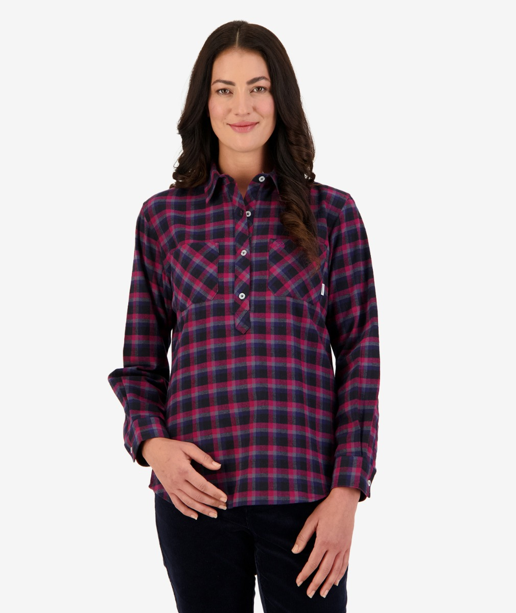 Swanndri Women's Barn Cotton Check Work Shirt in Raspberry Check