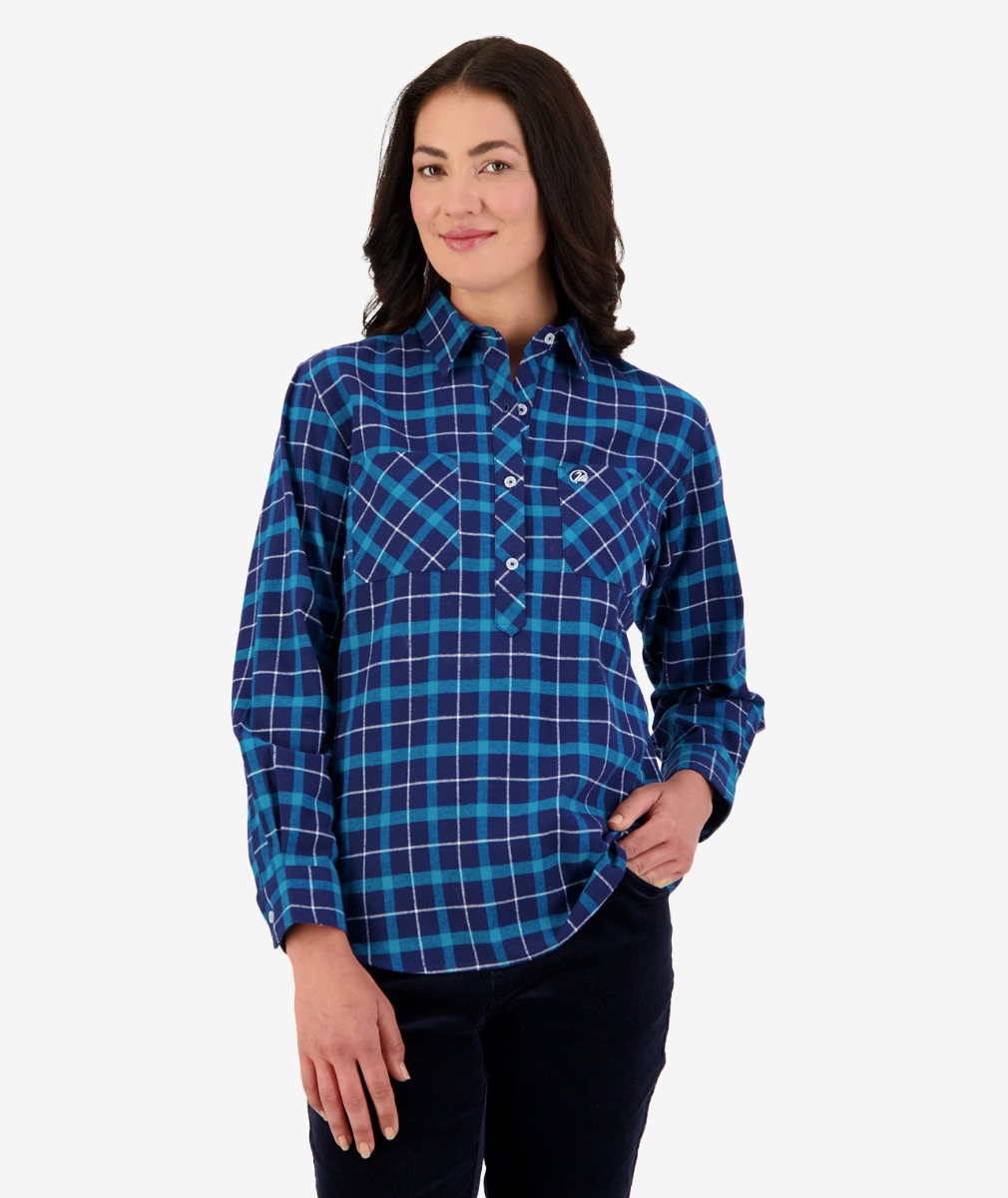 Women's Barn Cotton Check Work Shirt in Teal/Navy Check