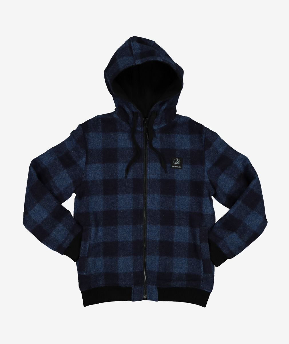 Swanndri Kid's Crooked River Wool Hoody in Ink Check