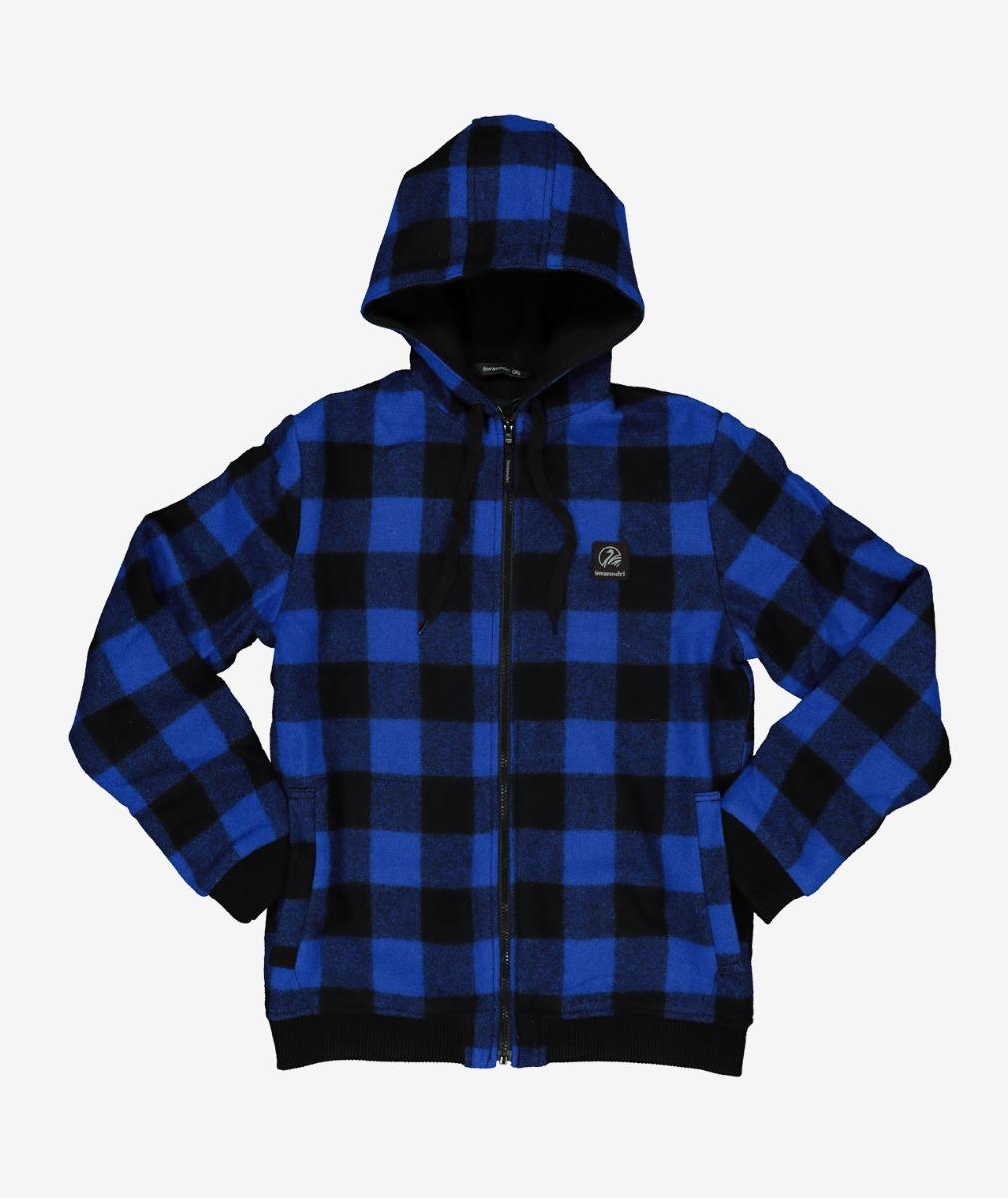 Swanndri Kid's Crooked River Wool Hoody in Blue/Black Check
