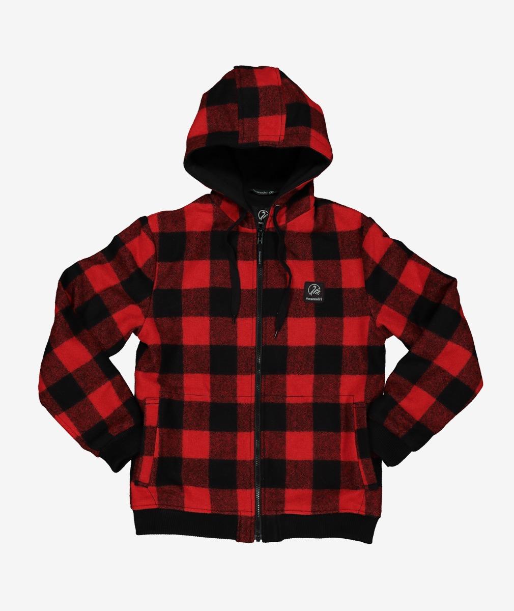 Swanndri Kid's Crooked River Wool Hoody in Red/Black Check