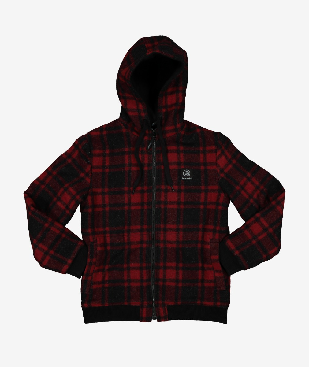 Swanndri Kid's Crooked River Wool Hoody in Oxblood Grid